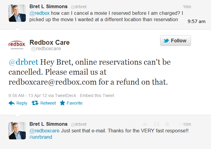 Redbox: Best Ever Customer Relationship Management on Twitter